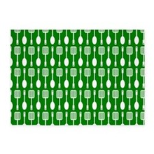 Green and White Kitchen Utensils Pa 5'x7'Area Rug