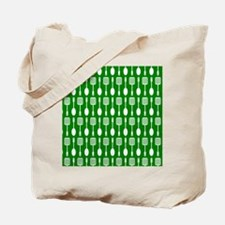 Green and White Kitchen Utensils Pattern Tote Bag