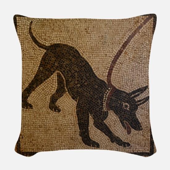 Pompeii Dog Mosaic Woven Throw Pillow