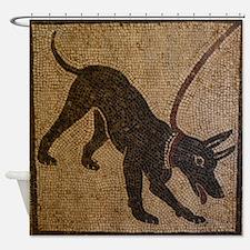Pompeii Dog Mosaic Shower Curtain