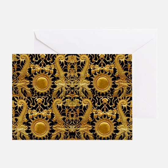 gold black antique pattern Greeting Card