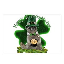 St Patrick's Day Raccoon Postcards (Package of 8)
