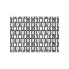 Gray Kitchen Utensils Pattern Backg 5'x7'Area Rug