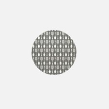 Gray Kitchen Utensils Pattern Backgrou Mini Button