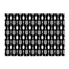 Black and White Kitchen Utensils Pa 5'x7'Area Rug