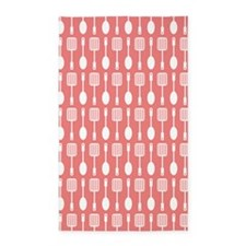 Coral and White Kitchen Utensils Pattern Area Rug