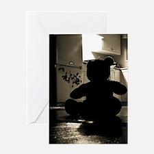 scary black teddy bear Greeting Cards