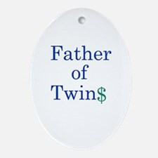 Father of Twins$.blue Oval Ornament