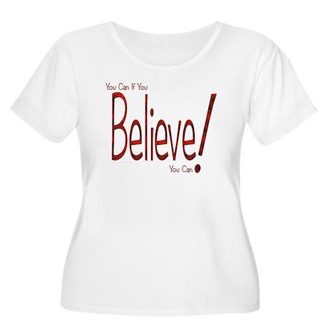 Believe! (Red) Women's Plus Size Scoop Neck T-Shir