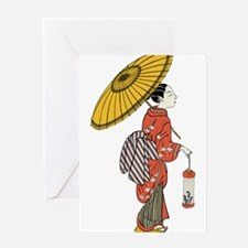 vintage geisha asian art Greeting Cards