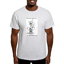Happy Dog Cartoon T-Shirt (Ash Grey)