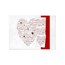 Words of Love Designer Art 5'x7'Area Rug