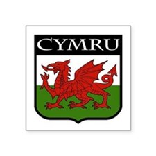 "Unique Welsh dragon coat of arms Square Sticker 3"" x 3"""