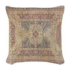 Antique Kerman Red/Blue Pattern Woven Throw Pillow