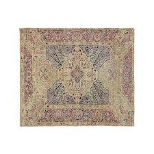 Antique Kerman Red/Blue Pattern Throw Blanket