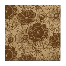 Flowers And Gears Brown Tile Coaster