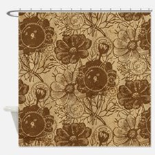 Flowers And Gears Brown Shower Curtain