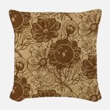 Flowers And Gears Brown Woven Throw Pillow