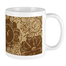 Flowers And Gears Brown Mug