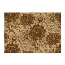 Flowers And Gears Brown 5'x7'Area Rug