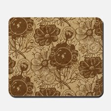 Flowers And Gears Brown Mousepad