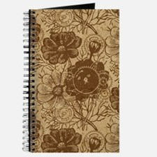 Flowers And Gears Brown Journal