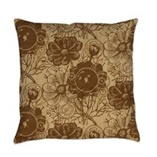 Flowers And Gears Brown Everyday Pillow