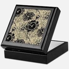 Flowers And Gears Black Keepsake Box
