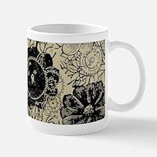 Flowers And Gears Black Mug
