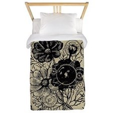 Flowers And Gears Black Twin Duvet