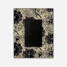 Flowers And Gears Black Picture Frame