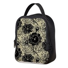 Flowers And Gears Black Neoprene Lunch Bag