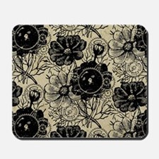 Flowers And Gears Black Mousepad