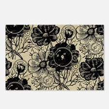 Flowers And Gears Black Postcards (Package of 8)
