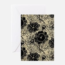 Flowers And Gears Black Greeting Card