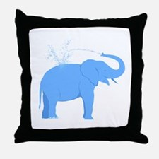 Jolly Blue Elephant Throw Pillow