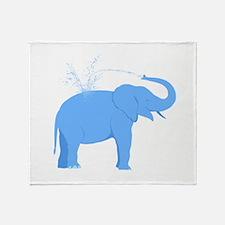 Jolly Blue Elephant Throw Blanket