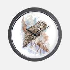 Watercolor Great Gray Owl Bird Nature Art Wall Clo
