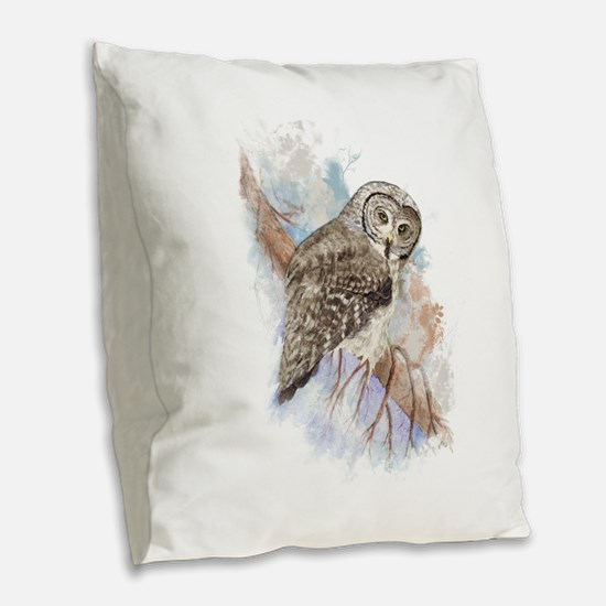 Watercolor Great Gray Owl Bird Nature Art Burlap T