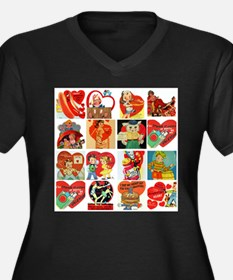 vintage valentines day cards feb Plus Size T-Shirt