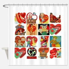 vintage valentines day cards feb Shower Curtain