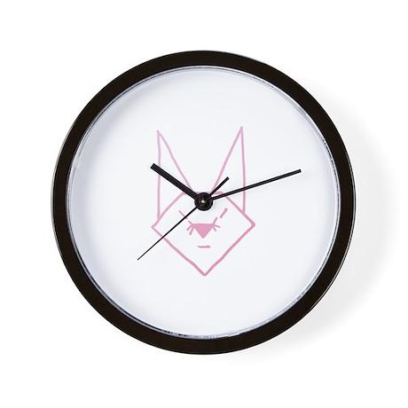 Pink Anime Rabbit Wall Clock
