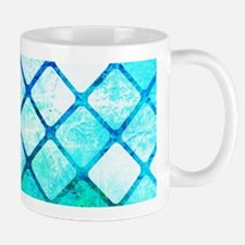 Blue Tiled Geometric Design Mugs