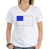 Christian flag t shirt Womens V-Neck T-shirts