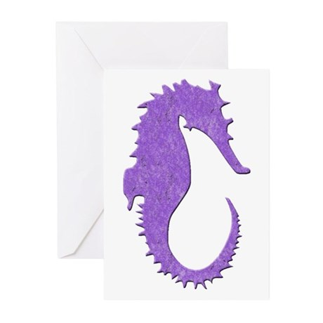 Purple Seahorse Greeting Cards (Pk of 10)