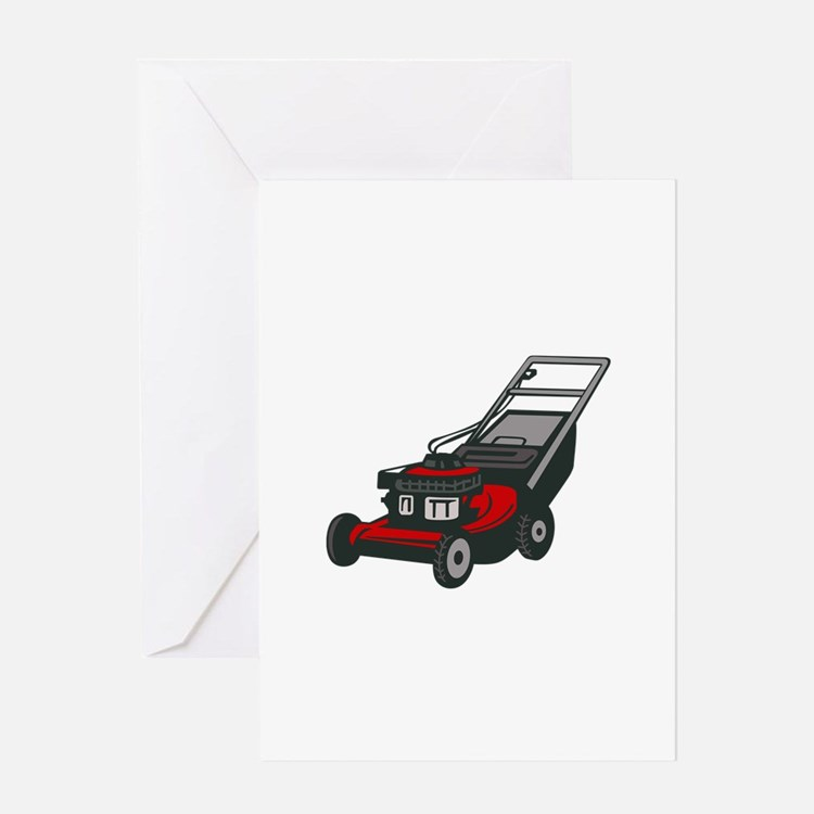LAWNMOWER Greeting Cards