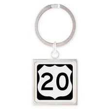 US Route 20 Square Keychain