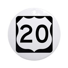 US Route 20 Ornament (Round)