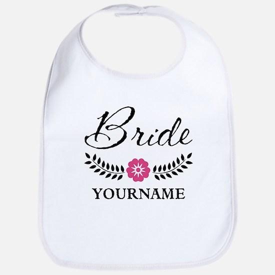 Custom Bride with Flower Wreath Bib