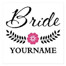 Custom Bride with Flower Wr Invitations